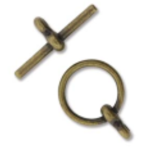 Toggle Ant. Brass Plate BAR: 19mm RING: 12mm
