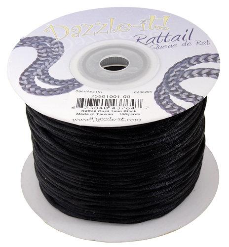RATTAIL CORD 1mm Black - 100yd Spool