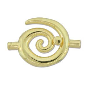 Large Gold  Glue In Toggle Swirl W/3.2mm Id