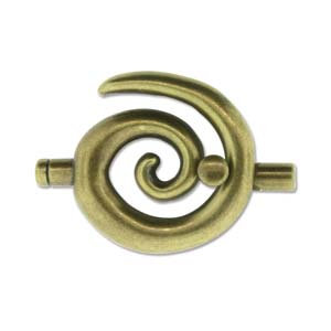 Large Ant. Brass Glue In Toggle Swirl W/3.2mm Id
