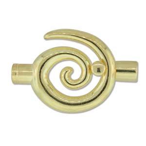 Large Gold Glue In Toggle Swirl W/6.2mm Id