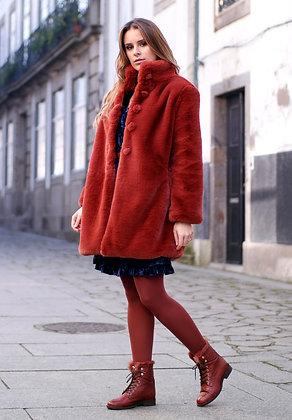MONIQUE TERRACOTA casaco comprido de pêlo