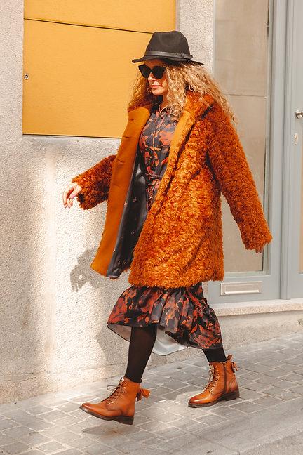 MONALISA casaco comprido de pêlo