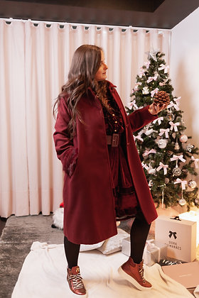 CHERRY BORDEAUX casaco comprido