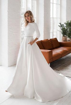 свадебное платье атласное с рукавом, свадебное платье купить