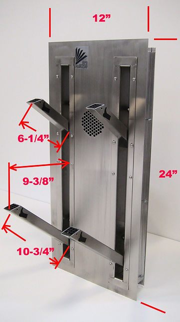 Stylish ski boot or shoe dryer with space saving retracting pegs for installation on or in wall of mudroom or locker room