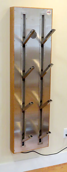 best Boot dryer for smal spaces stylish stainless steel retracting pegs space saving wall installation for ski boots shoes gloves in mudroom.  Built in or wall mount.  by Puelchedryer