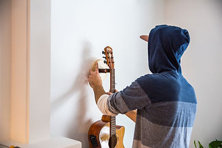 handmade wooden guitar stand handcrafted high end musical instrument display wall mounted guitar hanger