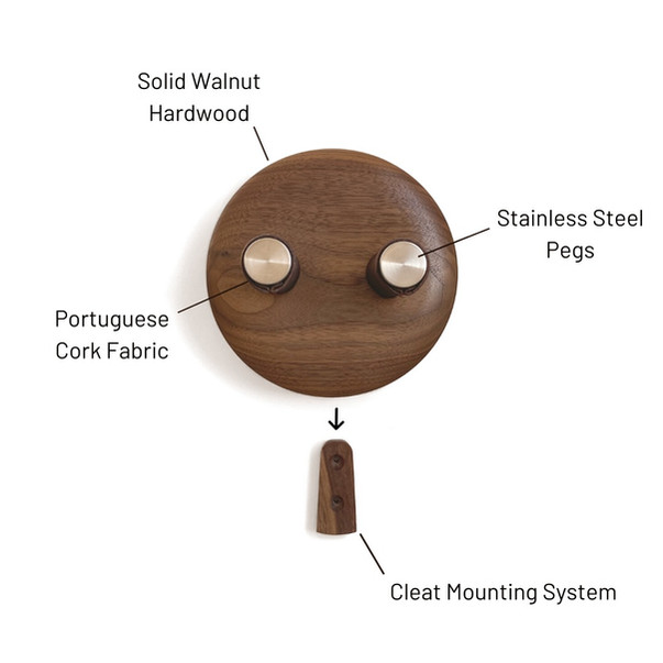 components of the wall hanger in walnut
