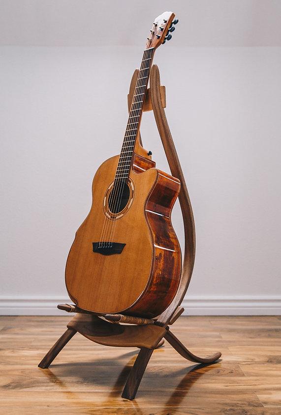 Walnut guitar stand