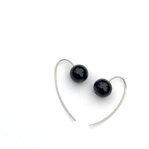 Gömb fülbevaló - fényes fekete