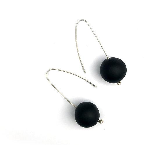 Buborék fülbevaló - matt fekete