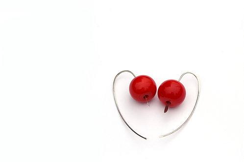 Piros ezüst fülbevaló