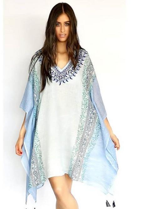 Poncho Azul de Arabescos