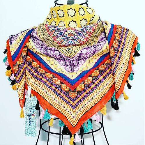 Pashmina bordada multicolor y flecos