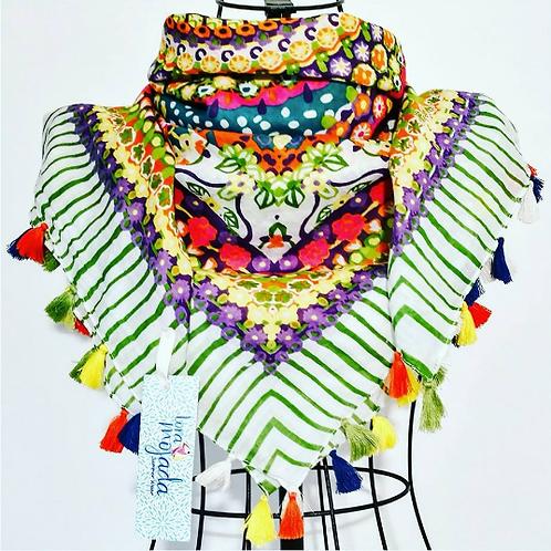 Pashmina en algodón rayas y flores