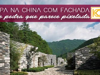 Kengo Kuma entrega spa na China com fachada de pedra que parece pixelada