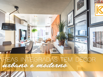 Área social integrada com cozinha tem décor urbano e moderno