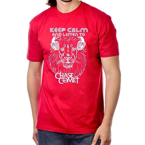 """Red T-shirt """"Keep Calm & Listen to Chase the Comet"""""""
