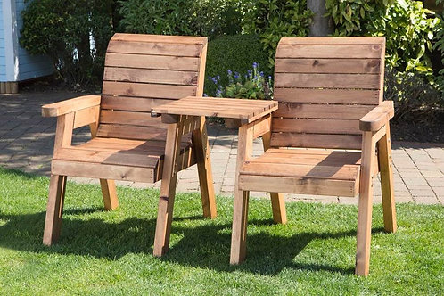 Twin Chair & Joint Table Set (Solid Wood)