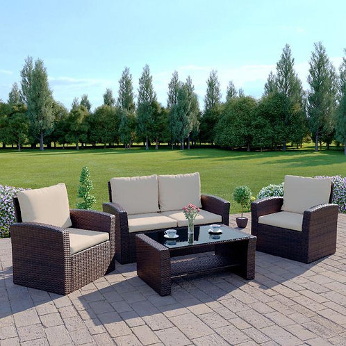 4 Seater  - Rattan Garden Set with Table