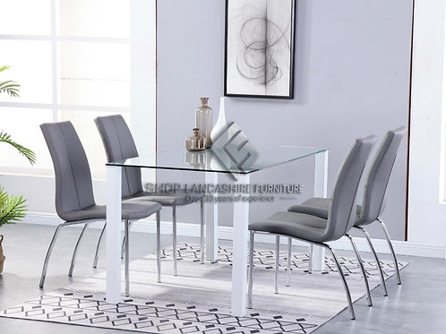 Milano Clear Glass Dining Set