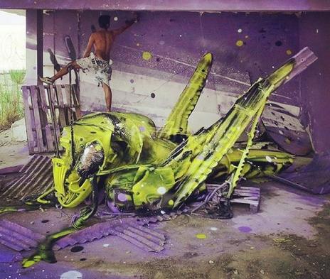 Prachtige street art van afval: Bordalo