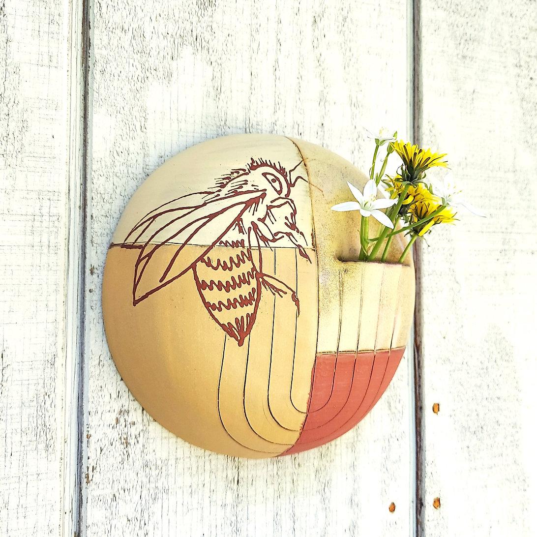Wall Vase with Honey Bee