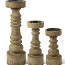 Chunky Wood Pillar Candle Holders - Set of 3
