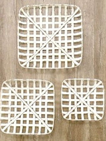 Set of 3 White Wooden Tobacco Baskets