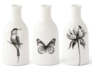 White Ceramic Bottles with Bird, Butterfly and Flower Decals