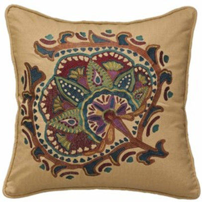 "Jewels Embroidered 20"" Throw Pillow"