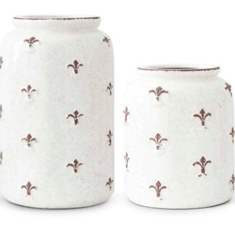 Ceramic Fleur de Lis Round Jugs