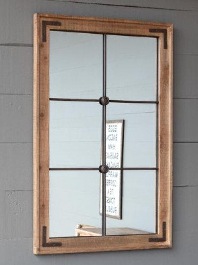 Wood Framed Warehouse Window Mirror
