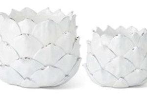 Set of 2 - White Resin Artichoke Planters