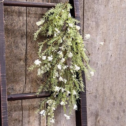 White Lobelia Dripping Garland, 26""