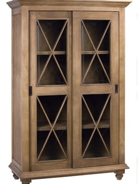 Wood Cabinet with Glass Panel Doors