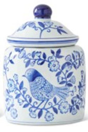 Blue & White Porcelain Canister with Blue Bird