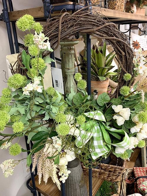 Green Pom Pom Grapevine Wreath