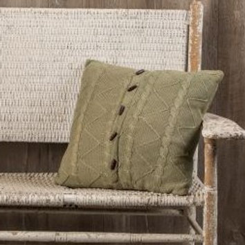 "20"" Sage Cable Twist Knit Pillow"