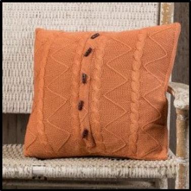 "20"" Pumpkin Cable Twist Knit Pillow"