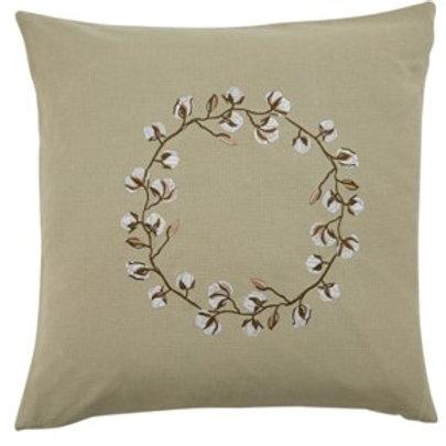 "20"" Cotton Wreath Pillow"