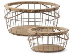 Wood and Wire Nesting Oval Baskets with Beaded Trim