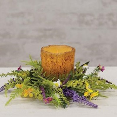 """Meadow Flowers Candle Ring, 3"""""""
