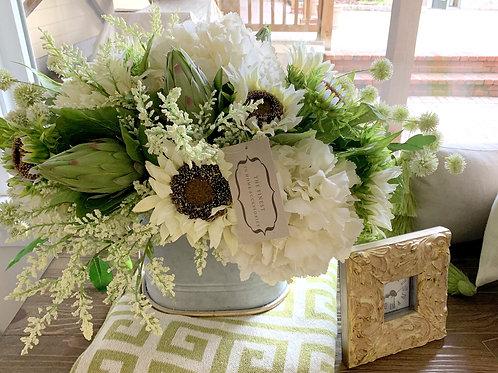White Hydrangea, Artichokes & Sunflower Arrangement