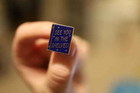 """""""See you in the Shelves"""" enamel pin"""
