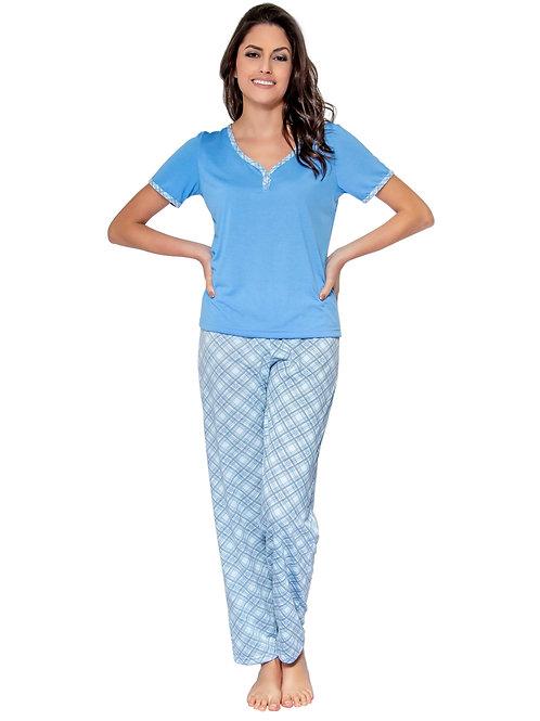 Pijama Manga Curta e Calça Comprida