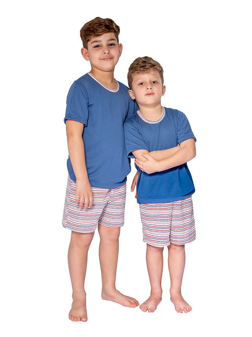 Pijama Infantil Manga Curta em Malha Listrada