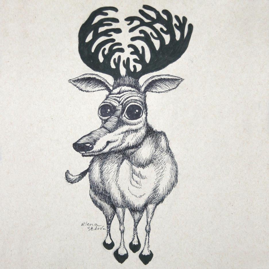 Deer in Love / Original Drawing
