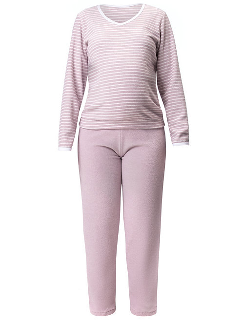 Pijama Longo Feminino em Plush Grosso Flanelado